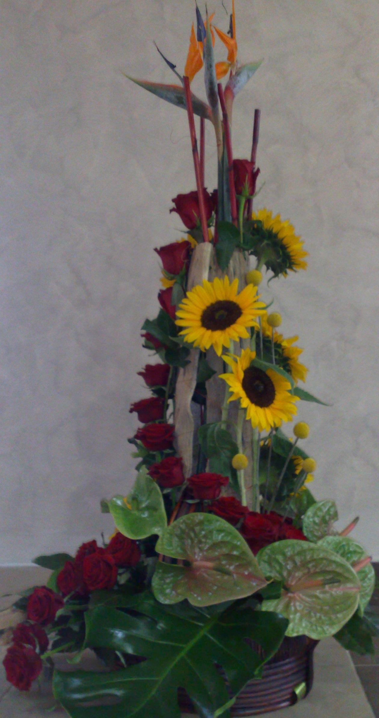 Cvetni aranžman strelicija, crvena ruža, anturijum i suncokret