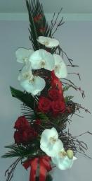 Buket penelopsis orhideje i ruže