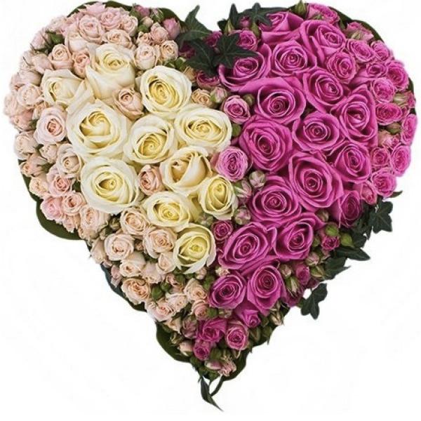 101 ruža u obliku srca - cvetni aranžman