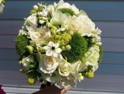 Bidermajer ruže, ornitogalum i zeleni karanfil
